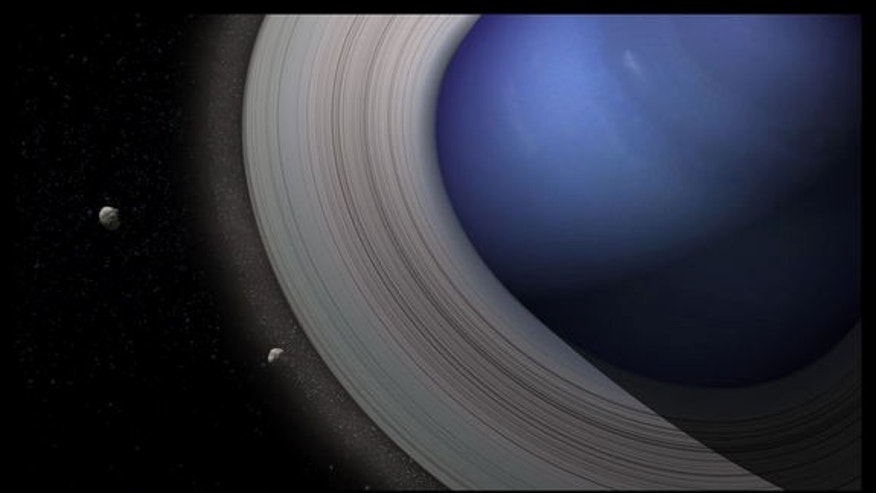 Artist's view of Neptune with massive rings, giving birth to its satellite system.