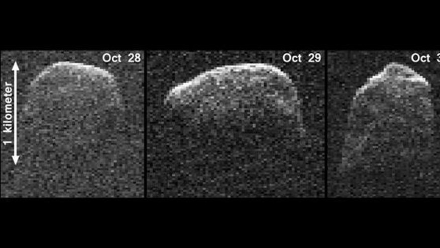 This composite image of asteroid 2007 PA8 was obtained using data taken by NASA's 230-foot-wide (70-meter) Deep Space Network antenna at Goldstone, Calif. The composite incorporates images generated from data collected at Goldstone on Oct. 28,