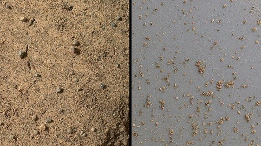 "The Mars Hand Lens Imager (MAHLI) on NASA's Mars rover Curiosity acquired close-up views of sands in the ""Rocknest"" wind drift to document the nature of the material that the rover scooped, sieved and delivered to the Chemistry and Mineralogy E"
