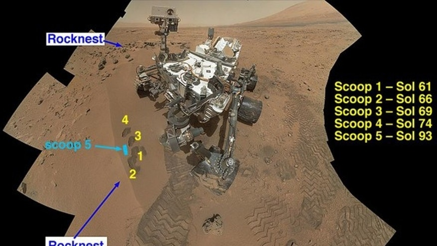 "NASA's Curiosity Mars rover documented itself in the context of its work site, an area called ""Rocknest Wind Drift,"" on the 84th Martian day, or sol, of its mission (Oct. 31, 2012). Image released Dec. 3, 2012."