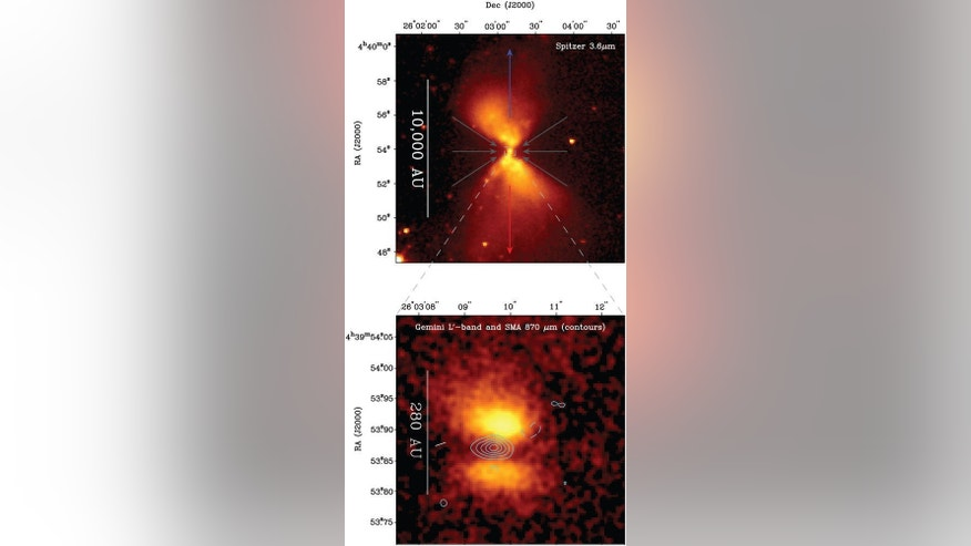 Images of the protostar taken with the Spitzer Space Telescope (top) and the Gemini North telescope (bottom). The contours outline the millimeter-wave emission as observed by the Submillimeter Array (SMA). The top image shows reflected light as