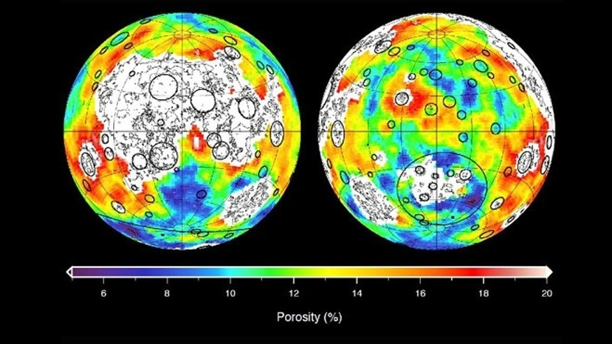 This image depicting the porosity of the lunar highland crust was derived using bulk density data from NASA's GRAIL mission and independent grain density measurements from NASA's Apollo moon mission samples.