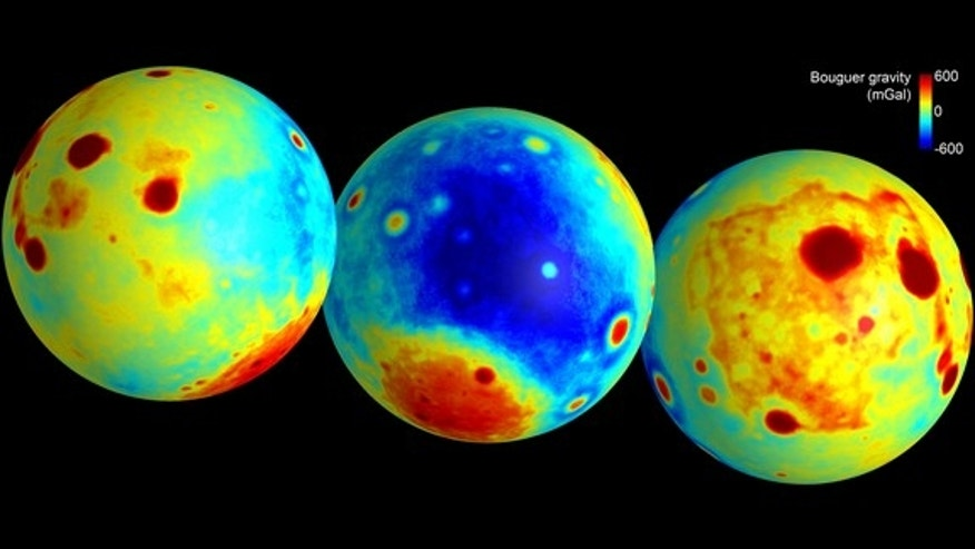 These maps of the moon show gravity anomalies measured by NASA's GRAIL mission.