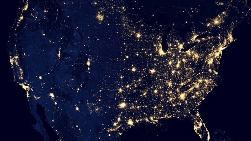 The United States at night, an  image made possible by a new satellite that detects light in a range of wavelengths from green to near-infrared and uses filtering techniques to observe dim signals.