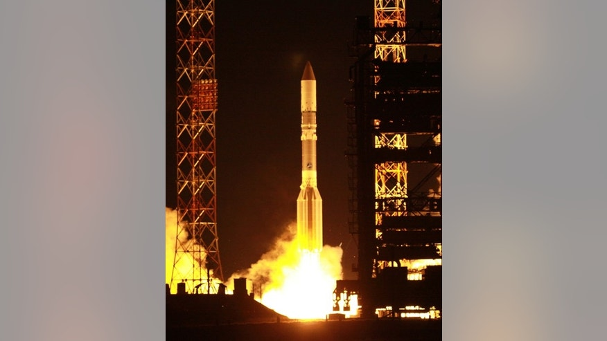 An International Launch Services Proton rocket launches the Yahsat 1 B communications satellite into orbit on April 24, 2012 from Baikonur Cosmodrome in Kazakhstan.