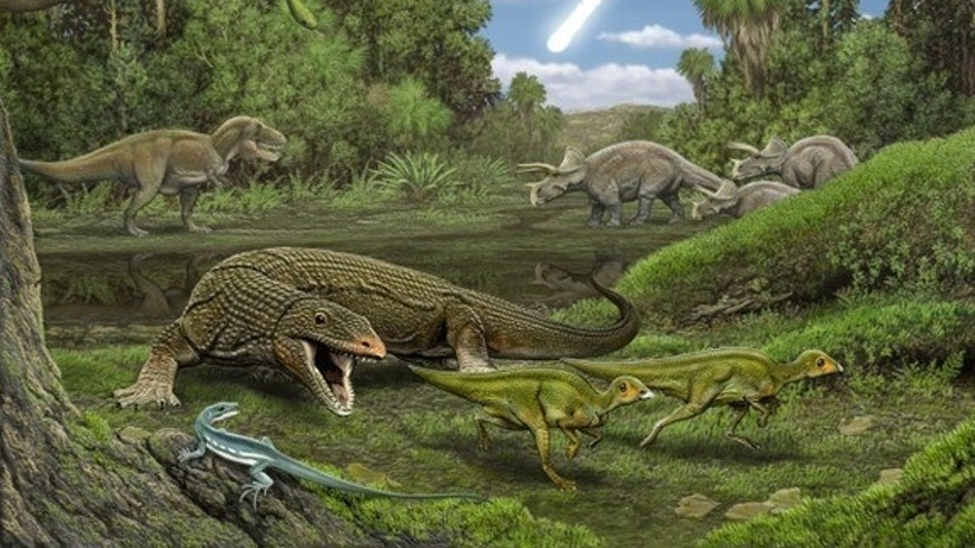New research suggests that reptiles that lived during the Dinosaur age were hard-hit. Here, the carnivorous lizard Palaeosaniwa chases a pair of young Edmontosaurus while the snake Cerberophis and the lizard Obamadon look on.