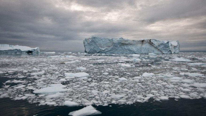 An iceberg in the Ilulissat Fjord which likely calved from the Jakobshavn Isbrae, west Greenland's fastest-moving glacier.