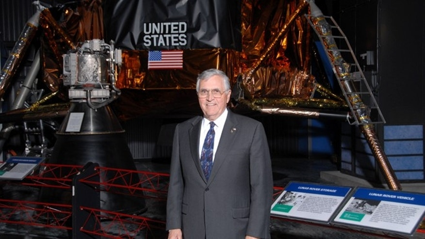 "Dec. 11, 2012: Apollo 17 lunar module pilot Harrison ""Jack"" Schmitt stands before an Apollo exhibit at the U.S. Space and Rocket Center in Huntsville, AL."