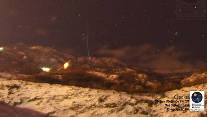 Astrophotographer Stojan Stojanovski sent in this photo of a Geminid meteor taken Dec. 13, 2012, in Ohrid, Macedonia.