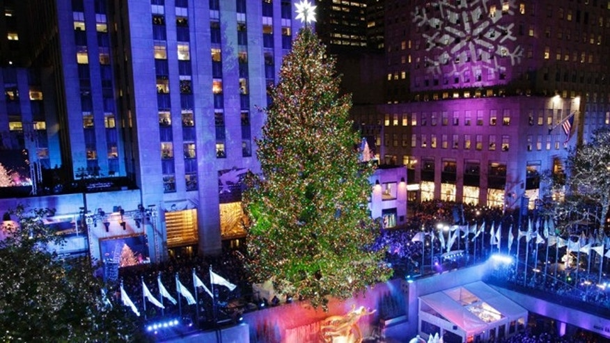 Nov. 28, 2012: The Rockefeller Center Christmas tree is lit during the 80th annual tree lighting ceremony at Rockefeller Center in New York.