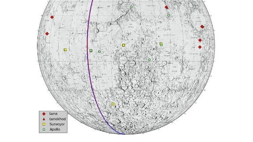 "This graphic highlights locations on the moon NASA considers ""lunar heritage sites"" and the path NASA's Gravity Recovery and Interior Laboratory spacecraft will take on their final flight. Image released Dec. 13, 2012."