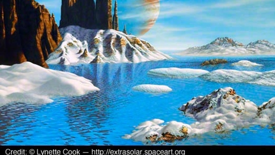 """Geoff Marcy gave a 'thumbs up' to my watery landscape idea since this planet is in a highly elliptical orbit. It shows that frozen water existing on a nearby moon would melt as the two bodies approach the star and warm up,"" Cook said."