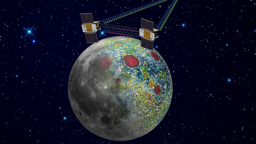 This undated artist file rendering provided by NASA on Dec. 21, 2011, shows the twin Grail spacecraft mapping the lunar gravity field, which launched from Cape Canaveral on Sept. 10, 2011. After nearly a year circling the moon, NASA's Ebb and Flow spacecraft met their demise when they crashed - on purpose - into a lunar mountain Dec. 17, 2012.