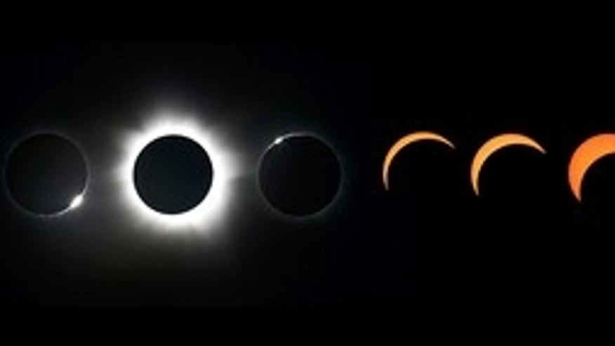 This composite photo, taken by Ben Cooper in Australia, shows the evolution of the November 2012 solar eclipse from partial phases to totality.