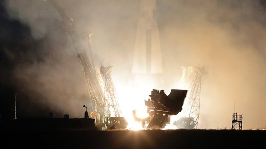 Dec. 19, 2012: The Soyuz-FG rocket booster with Soyuz TMA-07M space ship blasts off from the Baikonur cosmodrome Wednesday.