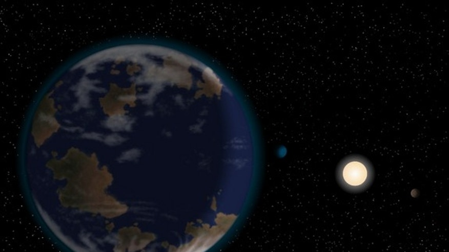 This artist's impression shows the newfound potentially habitable alien planet HD40307g in the foreground, with its host star and two other worlds in the six-planet system also depicted. The atmosphere and continents shown are neither detected