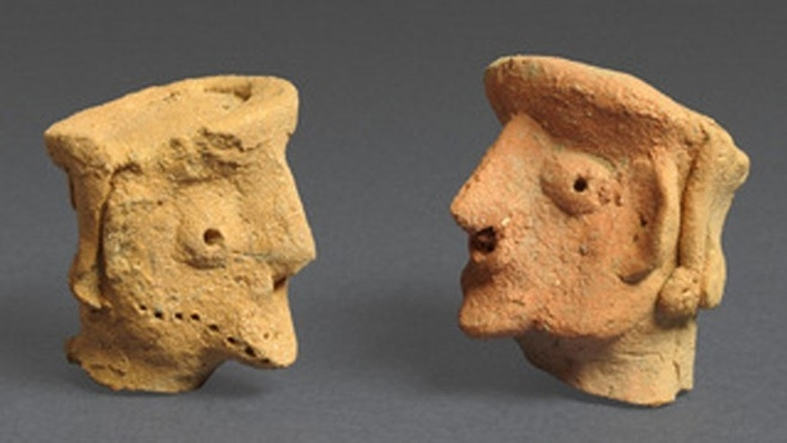Figurines of a person found at Tel Motza.