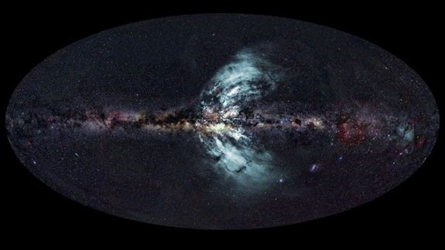 "This shows the ""geysers"" (in blue) shooting out of the Milky Way."