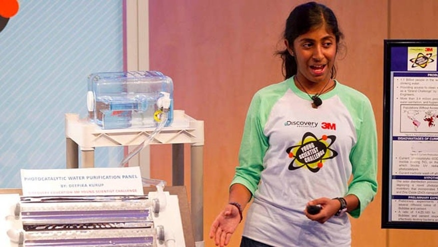"Deepika Kurup, winner of the title of ""America's Top Young Scientist,"" $25,000 and a trip from Discovery Student Adventures."