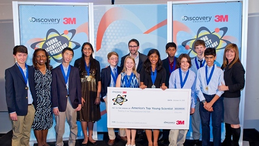 The finalists gather for an awards ceremony to celebrate the winners of the 2012 Discovery Education 3M Young Scientist Challenge.