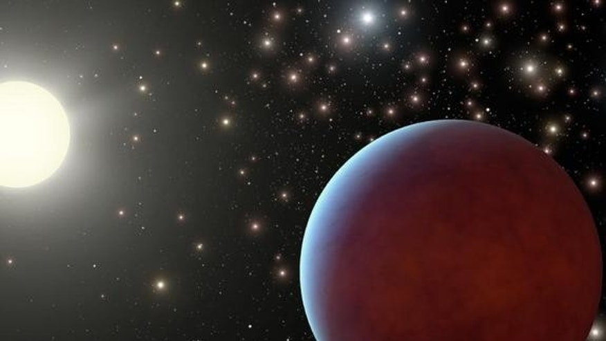 Artist's concept of one of the two gas giant planets discovered around different sun-like stars in the Beehive Cluster, a collection of about 1,000 tightly packed stars located about 550 light-years away from Earth.