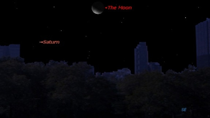 This sky map shows the location of Saturn and the moon in the night sky at 3 a.m. local time on Sunday, Jan. 6, 2013, for observers at mid-northern latitudes.