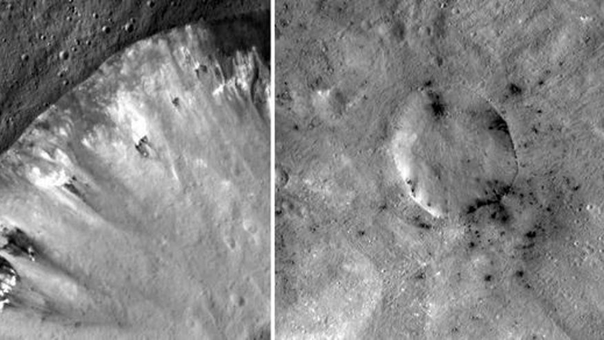 These mosaic images from NASA's Dawn mission show how dark, carbon-rich materials tend to speckle the rims of smaller craters or their immediate surroundings on the giant asteroid Vesta. The image on the left is Numisia Crater and the image on