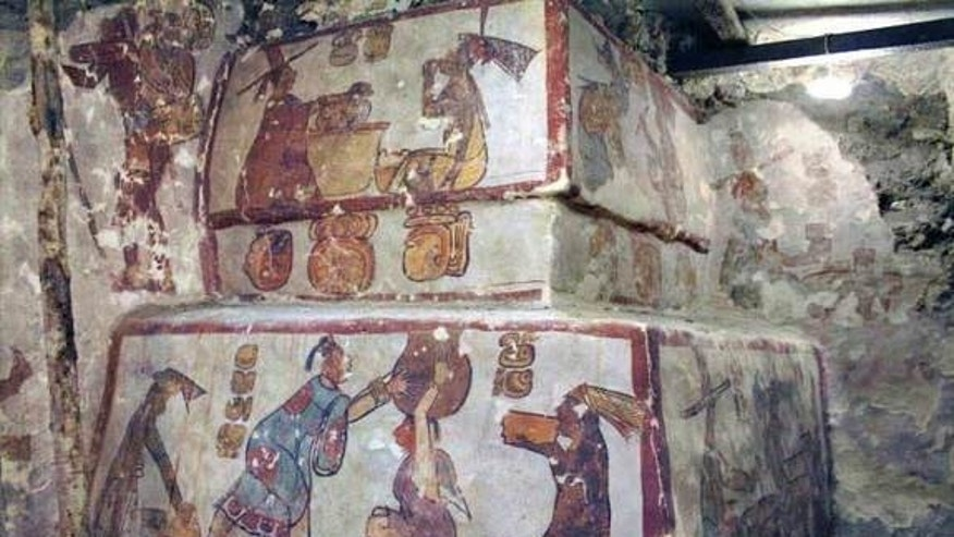 Anthropologists decoded early Mayan hieroglyphics from four codices, finding the Maya accurately predicted modern-day astronomical phenomena. Shown here, a corner of a painted Maya pyramid structure at Calakmul, Mexico.