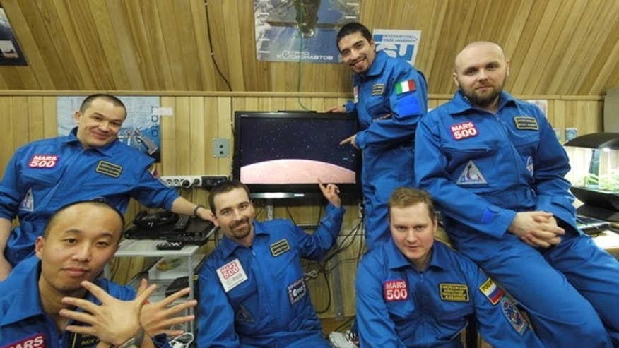 The six volunteers of Russia's Mars500 mock Mars mission pose for a crew portrait in May 2011 during their 520-day endurance mission simulation.