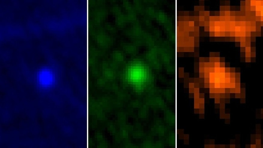 ESAs Herschel Space Observatory captured asteroid Apophis in its field of view during the approach to Earth on January, 5-6, 2013. This image shows the asteroid in Herschels three PACS wavelengths: 70, 100 and 160 microns.