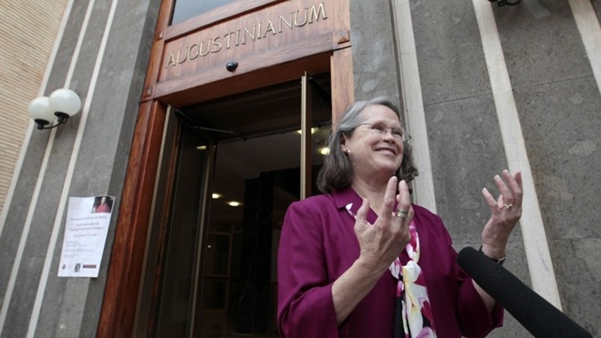 Sept. 19, 2012: Karen King, a professor at Harvard Divinity School, is interviewed outside the Augustinianum institute where an international congress on Coptic studies is held in Rome. Scholars are questioning the authenticity and significance of her claim -- that a 4th Century fragment of papyrus has provided the first evidence that some early Christians believed Jesus was married.