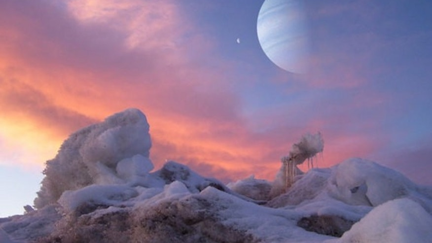 This artist rendering shows the view from a hypothetical habitable exomoon in orbit around Jupiter- and Saturn-like worlds.