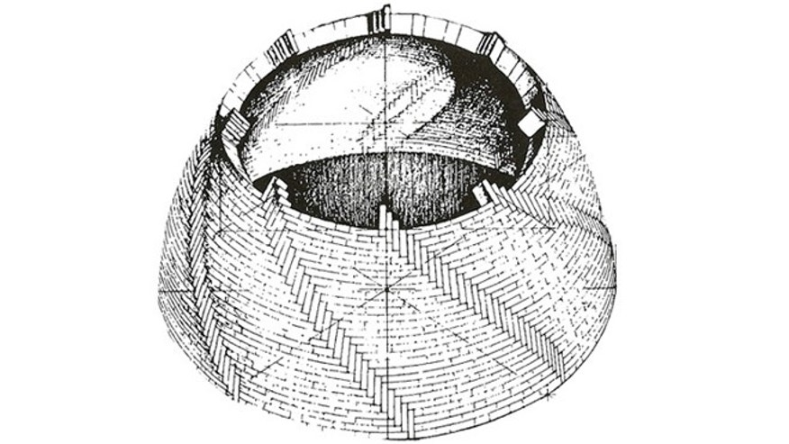 A drawing reconstructing the dome.