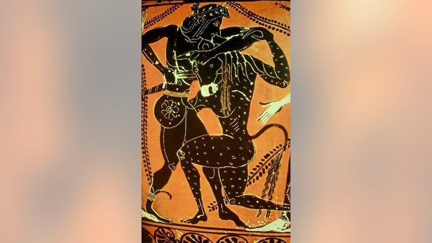 The Greek hero Theseus slays the minotaur in this 6th-century depiction on pottery.
