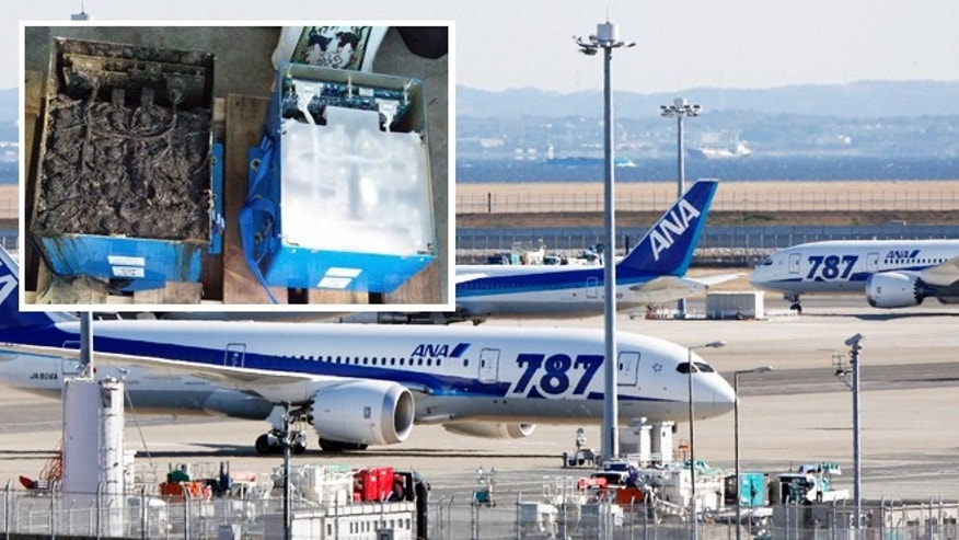 "Jan. 18, 2013: All Nippon Airways' Boeing 787 ""the Dreamliner"" passenger jets park on the tarmac at Haneda airport  in Tokyo. The inset shows the distorted main lithium-ion battery of the All Nippon Airways' Boeing 787 which made an emergency landing."