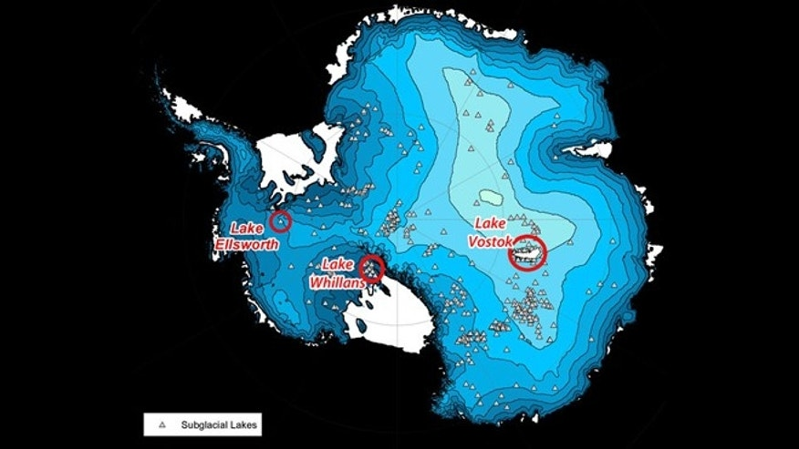The locations of the three subglacial lakes.