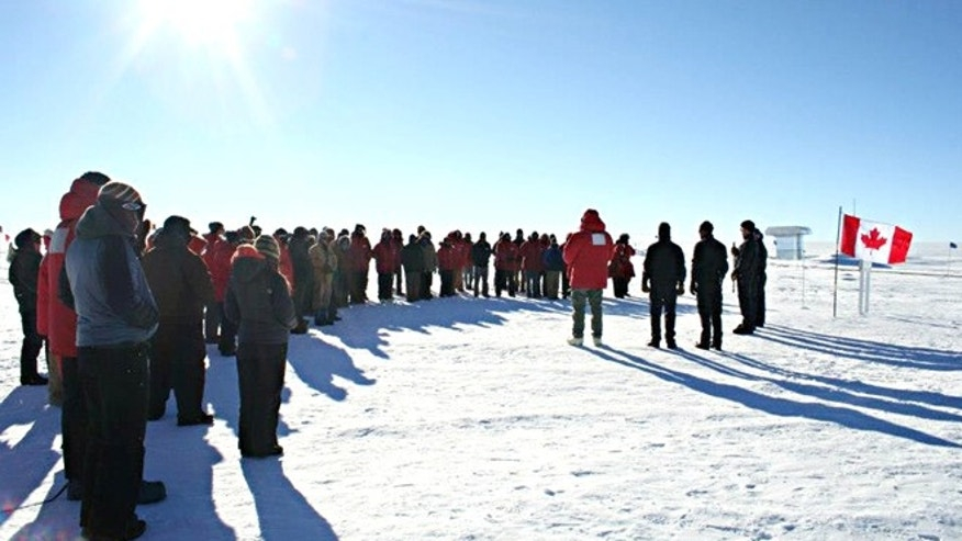 A ceremony in memory of the aircrew at NSF's Amundsen-Scott South Pole Station.