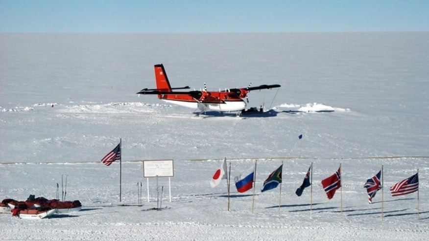 A Twin Otter aircraft at NSF's Amundsen-Scott South Pole Station is shown in a 2006 photograph.