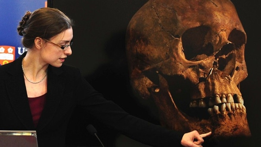Feb. 4, 2013: Jo Appleby, a lecturer in Human Bioarchaeology, at University of Leicester, School of Archaeology and Ancient History, who led the exhumation of the remains of King Richard III, speaks at the university.