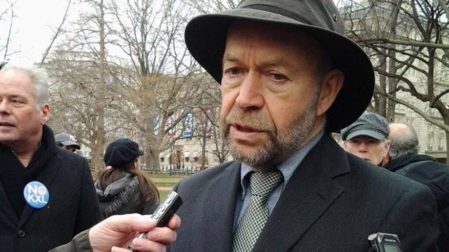 Feb. 13, 2013: Top NASA scientist James Hansen,  head of NASA's Goddard Institute for Space Studies, speaks to the press prior to his latest arrest.