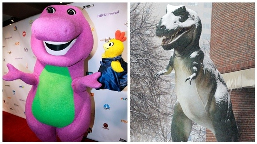 Barney the Dinosaur, left, in Chicago and a Tyrannosaurus Rex model outside the Museum of Science in Boston.