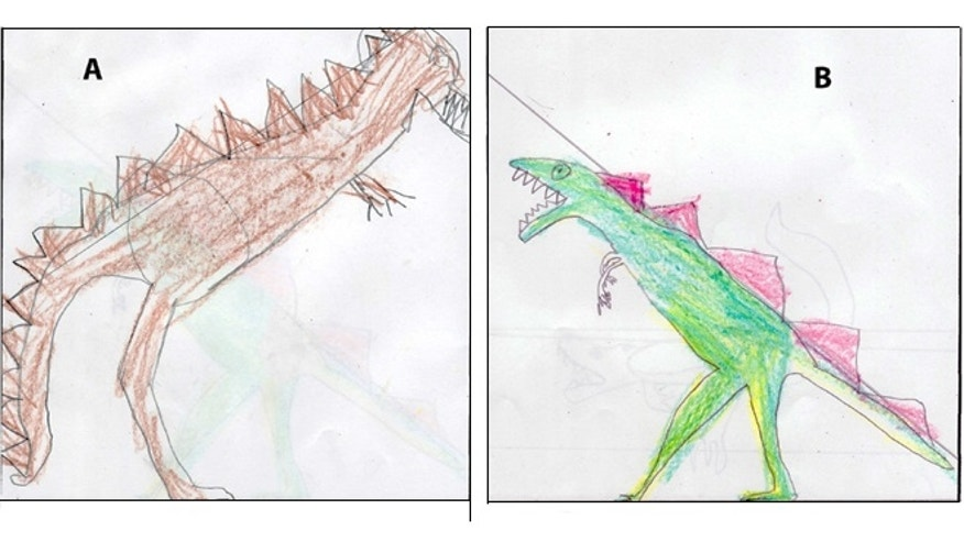 Drawings of Tyrannosaurus rex dinosaurs made by pre-college students in 2008. When researchers asked college students and children to draw the animal, most gave it an upright posture. Why? They'd soaked up the wrong idea from toys and other pop culture items, the researchers conclude.