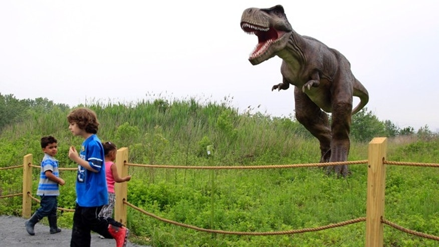May 25, 2012: Children stand near a life-size Tyrannosaurus Rex dinosaur model as it moves and growls in an interactive display at Field Station Dinosaurs in Secaucus, N.J.