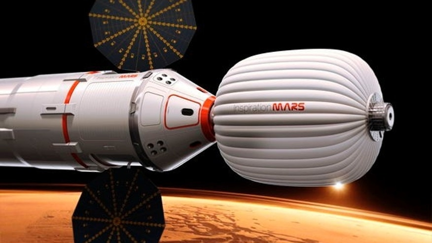 An artist's illustration of the Inspiration Mars Foundation's spacecraft for a 2018 mission to Mars by a two-person crew. The private Mars mission would be a flyby trip around the Red Planet.