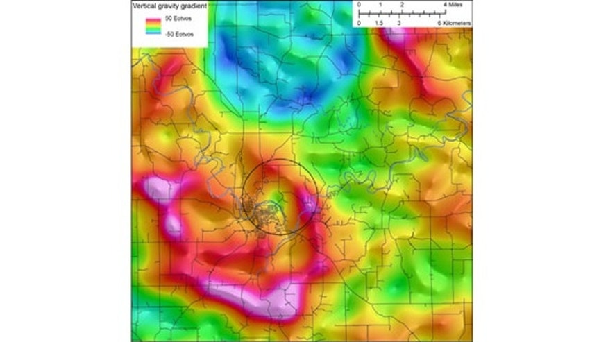 Data from drill cores and an aerial electromagnetic survey show the Decorah Impact Structure.