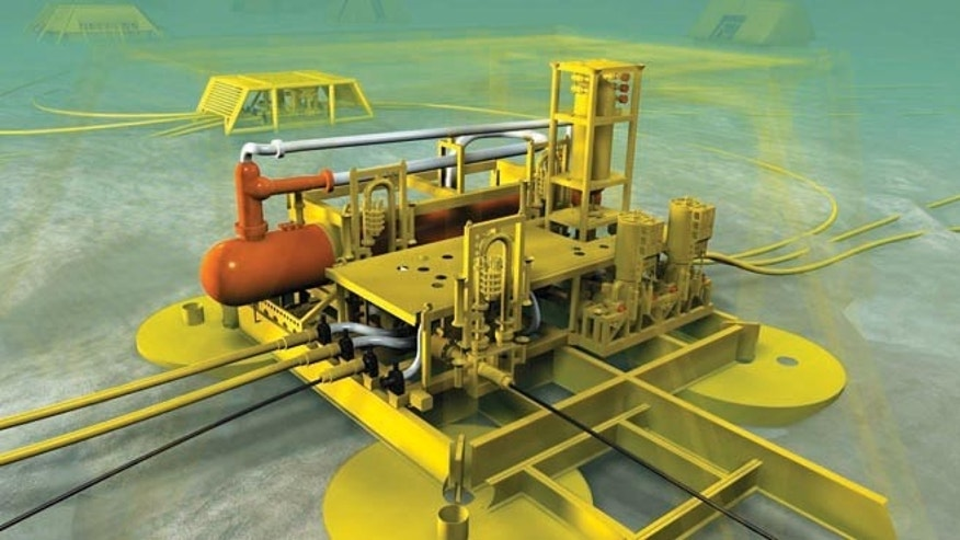 An artist's rendering of a robotic, subsea oil separation system by a Houston's gas and oil exploration company.
