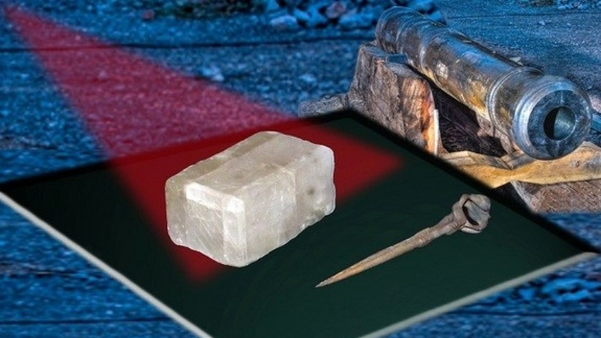 Researchers say this crystal found at the Alderney shipwreck near the Channel Islands could prove fabled Viking sunstones really did exist.