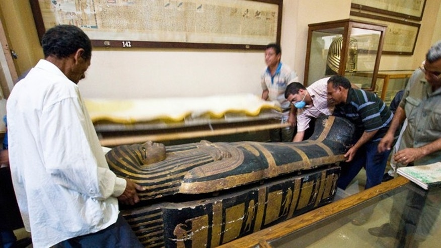 March 10, 2013: The sarcophagus of the mummy Hatiay (New Kingdom, 18th Dynasty, 1550 to 1295 BCE) is closed after the mummy underwent a CT scanning, in Cairo, Egypt.