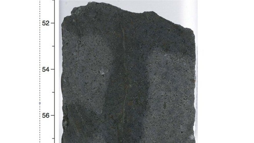 A basalt rock containing microbial life from deep within Earth's crust. The fine crack in the middle is a vein that remained free of contamination during the drilling process. The darker area surrounding it indicates water diffusing from the vein into the surrounding rock.