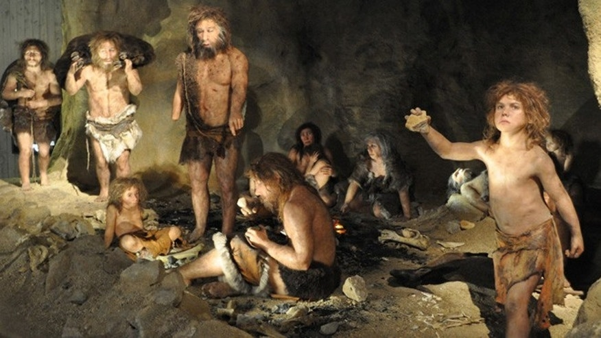Reconstruction of a Neanderthal group.